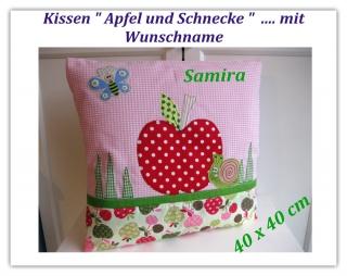 Namenskissen ★Apfel und Schnecke★ 40x40  ---> ein Wunschname ist noch möglich   - Handarbeit kaufen