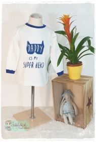 Langarmshirt ♥Superhero♥ Gr.104/110 creme/dunkelblau - Handarbeit kaufen