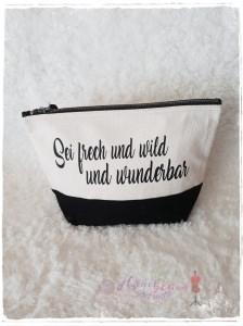Große Kosmetiktasche ♥ frech,wild,wunderbar ♥ schwarz