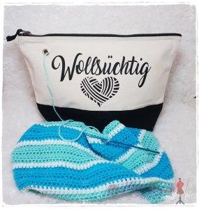XL Projekttasche , Wolltasche für Strick-/Häkelzeug -Wollsüchtig-