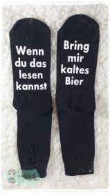 witzige Socken mit Spruch - Bring mir Bier - Handarbeit kaufen