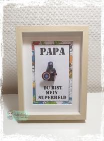 Rahmen- Du bist mein Superheld - Papa/Schatz/Wunschname - Handarbeit kaufen