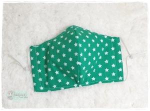 Mundbedeckung, Mund-Nasen-Maske, Behelfsmaske, waschbar (Sterne Grün) - Handarbeit kaufen