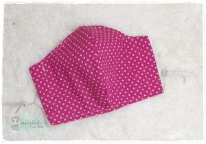 Mundbedeckung, Mund-Nasen-Maske, Behelfsmaske, waschbar (Pünktchen Pink)