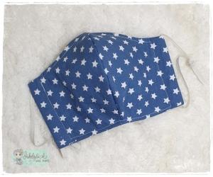 Mundbedeckung, Mund-Nasen-Maske, Behelfsmaske, waschbar (Sterne Jeansblau) - Handarbeit kaufen