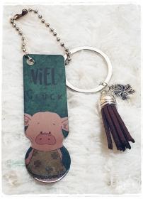 Einkaufswagenlöser ♥ Schlüsselanhänger ♥ Viel Glück Schweinchen - Handarbeit kaufen