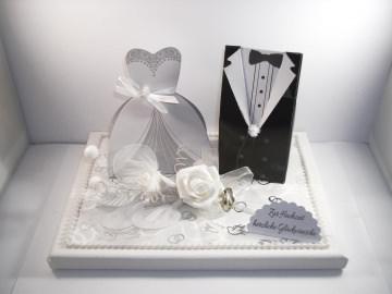 Geldgeschenk, Hochzeit, Vermählung, Geschenkschachtel, ganz edel in weiß-silber
