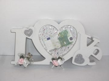 Geldgeschenk zur Hochzeit, Bilderrahmen LOVE, weiß-rosa