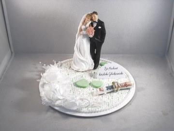 Geldgeschenk Hochzeit, Brautpaar, edel, Vermählung, Deko auf runder Platte - Handarbeit kaufen