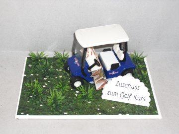 Geldgeschenk für einen Golfkurs, Geburtstag, Golf, Golfmobil, blau