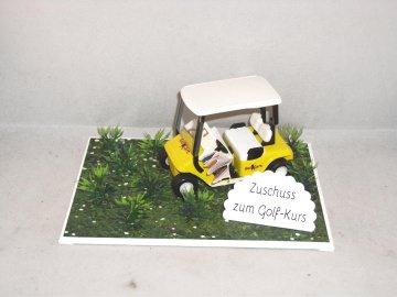 Geldgeschenk für einen Golfkurs, Geburtstag, Golf, Golfmobil, gelb - Handarbeit kaufen