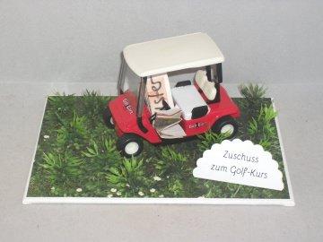 Geldgeschenk für einen Golfkurs, Geburtstag, Golf, Golfmobil, rot