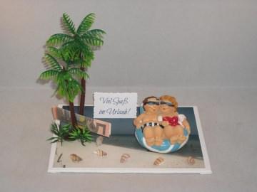 Geldgeschenk Urlaub, Urlaubsgeld, Geburtstag, Meer, Badeurlaub, Luftmatratze, Badeinsel, Strand, Sonne - Handarbeit kaufen