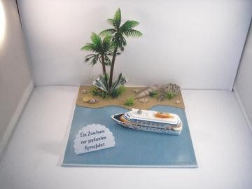 Geldgeschenk für eine Kreuzfahrt, Geburtstag, Seereise, Urlaub, Schiff, Meer, Ozean