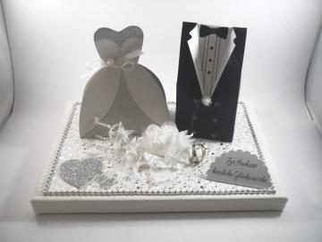 Geldgeschenk, Hochzeit, Vermählung, Geschenkschachtel, ganz edel in weiß-silber  - Handarbeit kaufen
