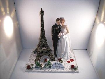 Geldgeschenk Hochzeit, Paris, Eiffelturm, groß, Brautpaar mit Sektgläsern, Frankreich, Flitterwochen - Handarbeit kaufen