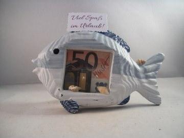 Geldgeschenk Urlaub, Geburtstag, Bilderrahmen, Fisch, maritim, Meer, See - Handarbeit kaufen