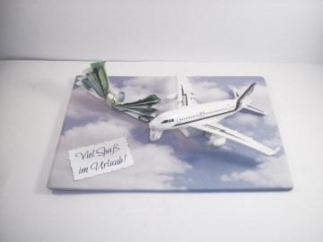 Geldgeschenk Geburtstag, Urlaub, Urlaubsgeld, Flieger, fliegen, Flugreise   - Handarbeit kaufen