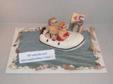 Geldgeschenk Geburtstag, Urlaub, Reise, Boot, Urlaubsgeld, Schlauchboot, Motorboot, paddeln, Muscheln, Meer - Handarbeit kaufen