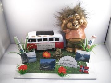 Geldgeschenk Geburtstag, Urlaub, Wohnmobil, Norwegen, Troll, Inukshuk, Wohnwagen, Camping, Skandinavien, Schweden, Finnland - Handarbeit kaufen