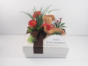 Geldgeschenk Geburtstag, Geld für Gartenpflanzen, Blumen, Garten, Pflanzen, Geschenkschachtel