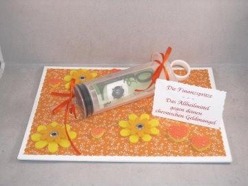 Geldgeschenk Geburtstag, Finanzspritze, Spritze, Geldspritze, Notgroschen, Geld verschenken - Handarbeit kaufen