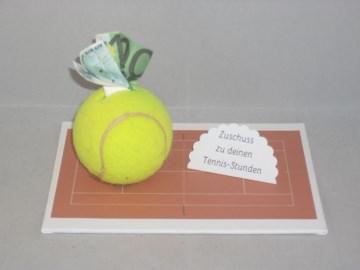 Geldgeschenk für Tennisstunden, Geburtstag, Tennisschläger, Tennis, Tenniskleidung, Sportkleidung