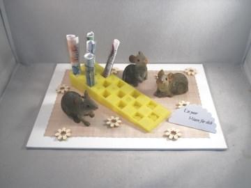 Geldgeschenk Mäuse für dich, Käse, Geburtstag, Jugendweihe, Prüfung, Jubiläum