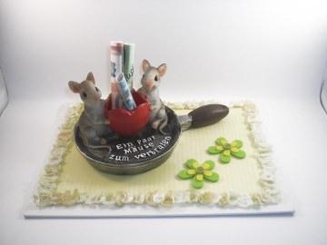 Geldgeschenk Geburtstag, Jugendweihe, Mäuse zum verbraten, Geld schenken, Bratpfanne, Geld verbraten, Herz