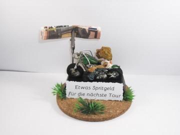 Geldgeschenk Geburtstag, Biker, Motorradfahrer, Motorrad, Spritgeld, Benzingeld, Moped, Motorrad-Tour, Biker-Urlaub