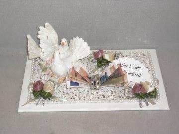 Hochzeit, Geldgeschenk, Tauben, Ringe, Rosen, edel - Handarbeit kaufen