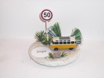 Geldgeschenk Geburtstag, Spritgeld, Bus, Geburtstag, Zahl, Verkehrsschild mit Geburtstagszahl - Handarbeit kaufen