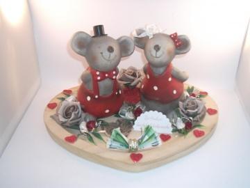 Geldgeschenk zur Hochzeit, Mäuse, Kuss, Herzschale - Handarbeit kaufen