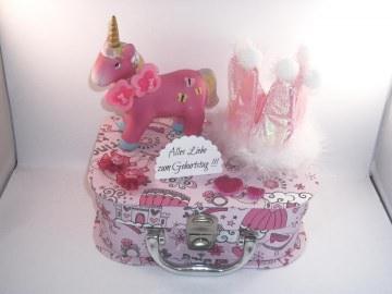 Geldgeschenk, Geschenkkoffer, Mädchen, Girl, rosa, Pferd, Schulanfang, Geburtstag - Handarbeit kaufen