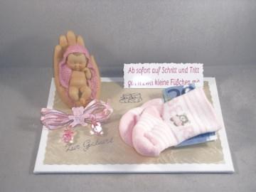 Geldgeschenk Geburt, Taufe, Mädchen, Baby, rosa , Erstlingssöckchen, Söckchen