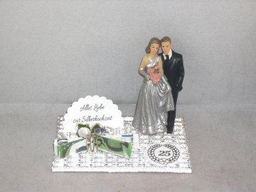 Geldgeschenk zur Silberhochzeit, 25, Ehejubiläum, 25. Hochzeitstag, Silberne Hochzeit       - Handarbeit kaufen