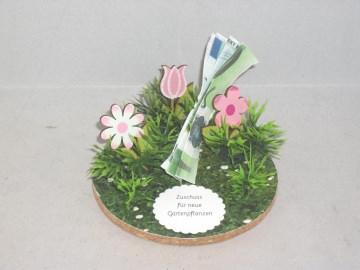 Geldgeschenk, Geld für Gartenpflanzen, Geburtstag, Blumen, Pflanzen, Gartengeräte