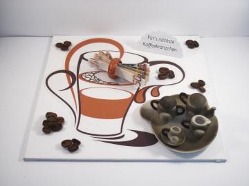 Geldgeschenk Kaffeekränzchen, Geburtstag, Kaffeegeschirr, Kaffeemaschine, Kaffee