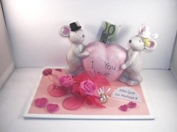 Geldgeschenk zur Hochzeit, Mäuse, Spardose, pink, Geld verschenken, Mäusepaar