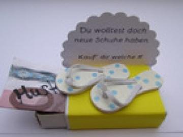 Geldgeschenk, Geburtstag, Streichholzschachtel, Flip-Flops, Sandalen, Schuhe - Handarbeit kaufen