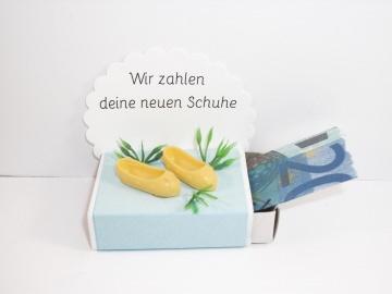 Geldgeschenk, Geburtstag, Streichholzschachtel, Schuhkauf, Sandalen, Schuhe  - Handarbeit kaufen