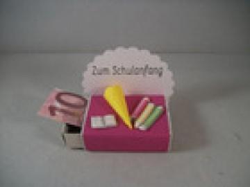 Geldgeschenk, Streichholzschachtel, Schulanfang, für Mädchen, pink - Handarbeit kaufen