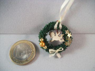 Mini-Türkränzchen für die Puppenstube, Puppenstuben-Deko, Puppenhaus, Türkranz, Weihnachten, Advent, Wandkranz, Fensterkranz