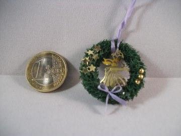 Mini-Türkränzchen für die Puppenstube, Puppenstuben-Deko, Puppenhaus, Türkranz, Weihnachten, Advent, Wandkranz, Fensterkranz   - Handarbeit kaufen