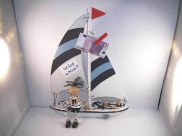 Geldgeschenk Urlaub, Urlaubsgeld, Geburtstag, Segelboot, Matrose, Schiffsreise, Boot  - Handarbeit kaufen