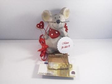 Geldgeschenk, Mausefalle ganz in rot, Geburtstag, Jugendweihe, Muttertag, Valentinstag