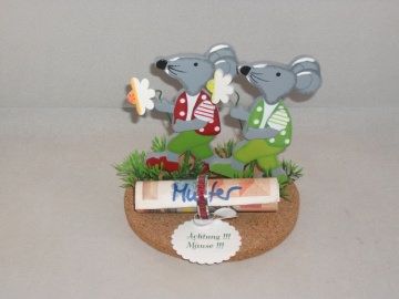 Geldgeschenk Mäuse, Geburtstag, Holzmaus, Holzmäuse, mit Fingerring, Ring