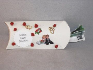 Geldgeschenk, Kissenschachtel, zur Hochzeit, kleine Geldverpackung - Handarbeit kaufen