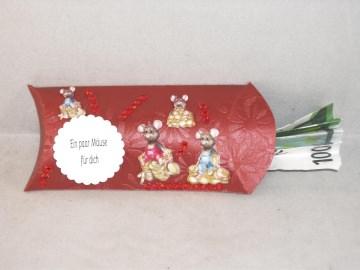 Geldgeschenk, Kissenschachtel, zum Geburtstag, Mäuse, Geld verschenken - Handarbeit kaufen