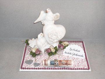 Hochzeit, Geldgeschenk, Tauben, Ringe, Rosen, Herz, Skulptur - Handarbeit kaufen